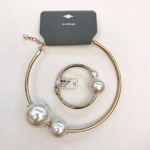 Express Oversized Pearl Choker Necklace & Bracelet